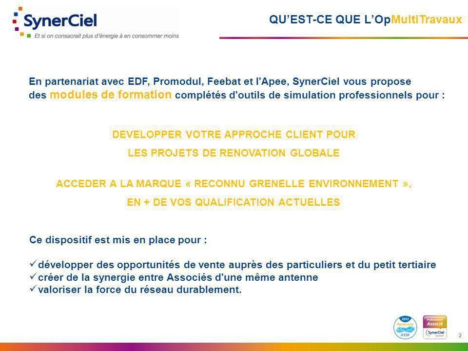 2 2 QUEST-CE QUE LOpMultiTravaux En partenariat avec EDF, Promodul, Feebat et l'Apee, SynerCiel vous propose des modules de formation complétés d'outi