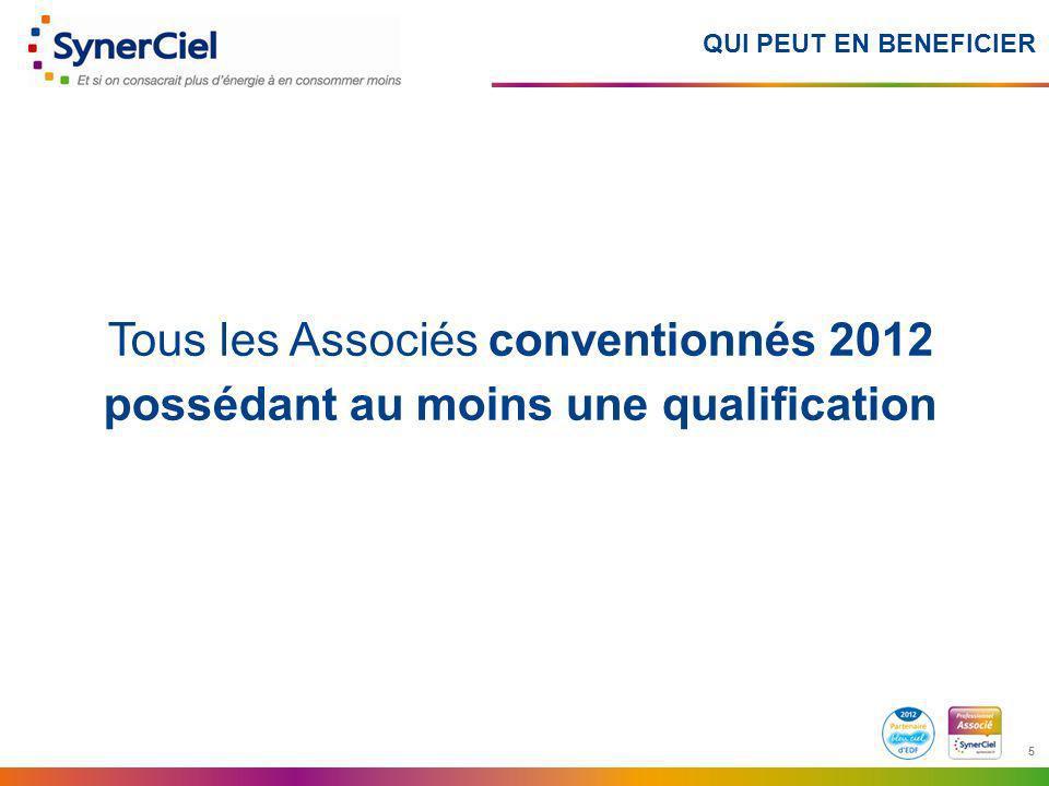 5 5 QUI PEUT EN BENEFICIER Tous les Associés conventionnés 2012 possédant au moins une qualification