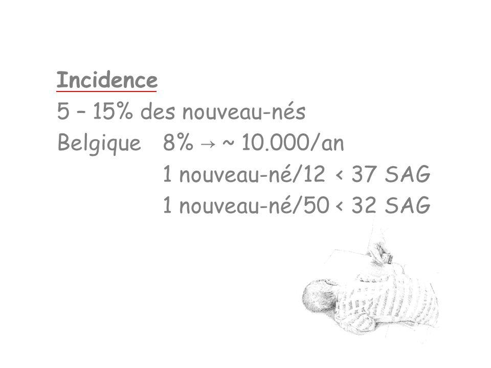 Incidence 5 – 15% des nouveau-nés Belgique8% ~ 10.000/an 1 nouveau-né/12< 37 SAG 1 nouveau-né/50< 32 SAG