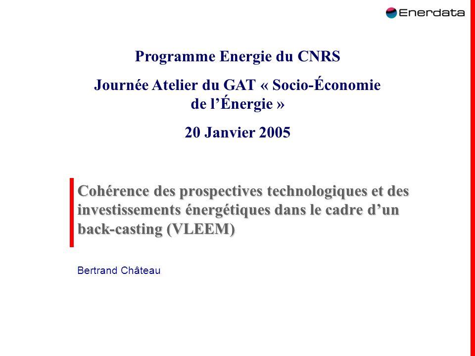 1 Cohérence des prospectives technologiques et des investissements énergétiques dans le cadre dun back-casting (VLEEM) Bertrand Château Programme Ener