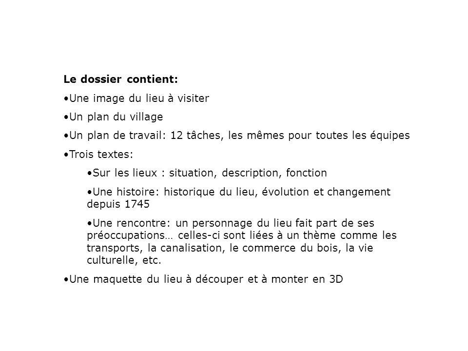 Le dossier contient: Une image du lieu à visiter Un plan du village Un plan de travail: 12 tâches, les mêmes pour toutes les équipes Trois textes: Sur