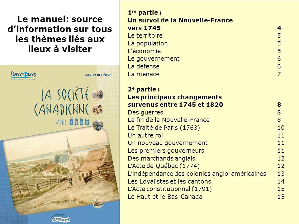 1 re partie : Un survol de la Nouvelle-France vers 17454 Le territoire5 La population5 Léconomie5 Le gouvernement6 La défense6 La menace7 2 e partie :