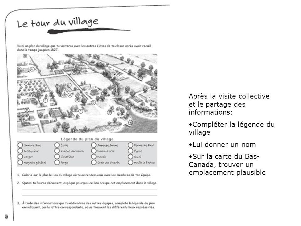 Après la visite collective et le partage des informations: Compléter la légende du village Lui donner un nom Sur la carte du Bas- Canada, trouver un e