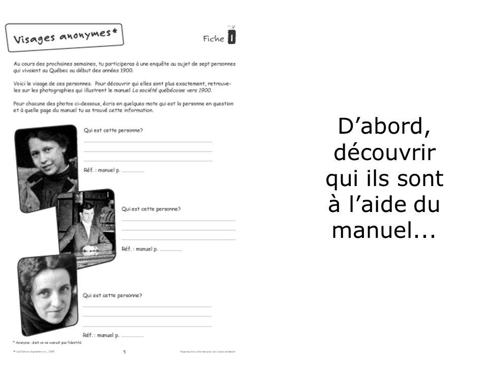 Ouvrière Dabord, découvrir qui ils sont à laide du manuel...