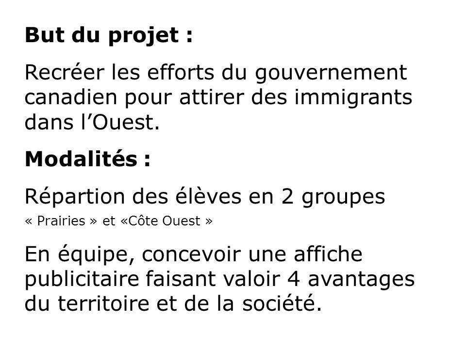 But du projet : Recréer les efforts du gouvernement canadien pour attirer des immigrants dans lOuest. Modalités : Répartion des élèves en 2 groupes «