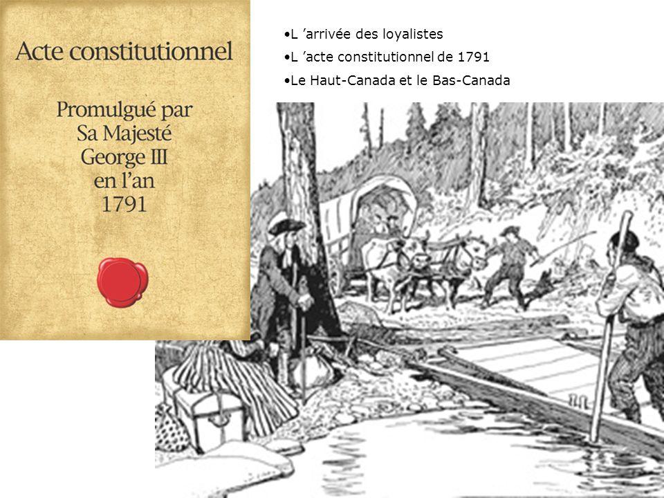 L arrivée des loyalistes L acte constitutionnel de 1791 Le Haut-Canada et le Bas-Canada
