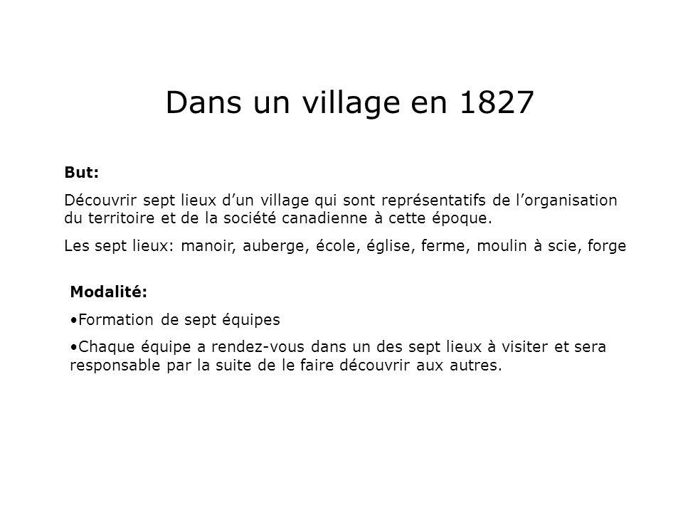 Dans un village en 1827 But: Découvrir sept lieux dun village qui sont représentatifs de lorganisation du territoire et de la société canadienne à cet