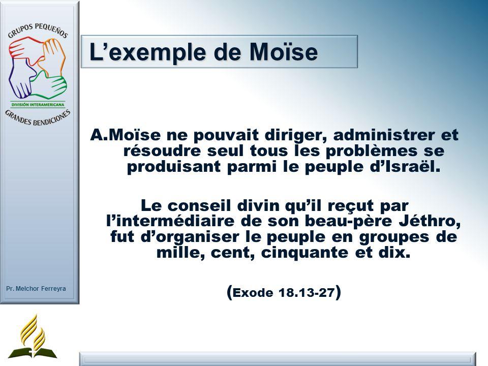 Pr. Melchor Ferreyra A.Moïse ne pouvait diriger, administrer et résoudre seul tous les problèmes se produisant parmi le peuple dIsraël. Le conseil div