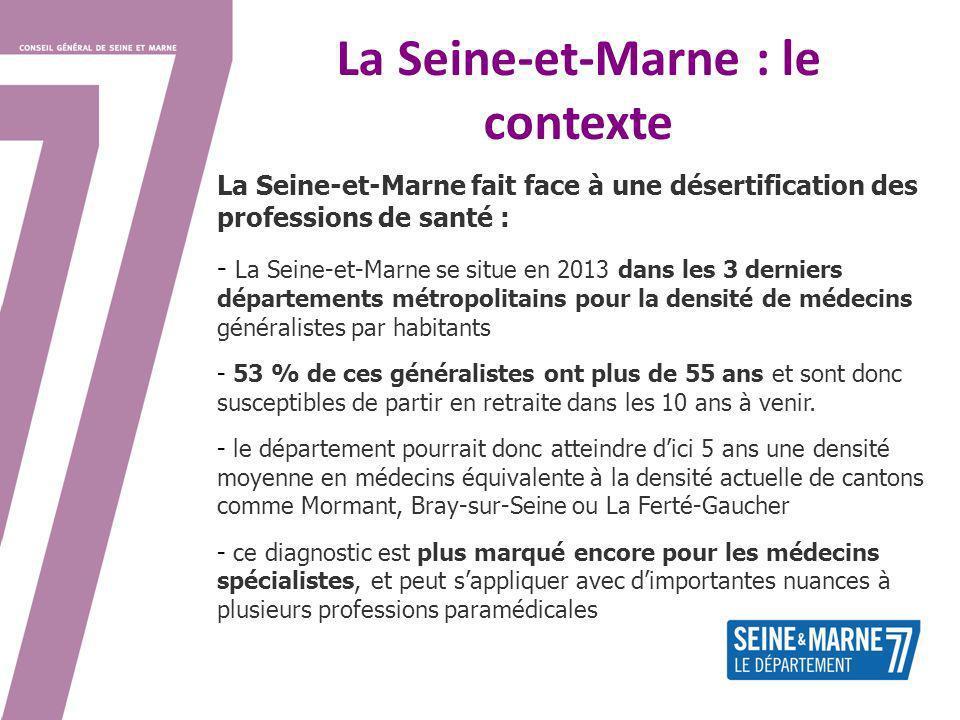 La Seine-et-Marne : le contexte La Seine-et-Marne fait face à une désertification des professions de santé : - La Seine-et-Marne se situe en 2013 dans