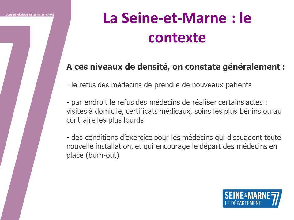 La Seine-et-Marne : le contexte A ces niveaux de densité, on constate généralement : - le refus des médecins de prendre de nouveaux patients - par end