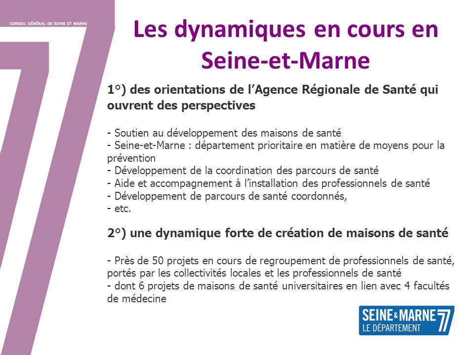 Les dynamiques en cours en Seine-et-Marne 1°) des orientations de lAgence Régionale de Santé qui ouvrent des perspectives - Soutien au développement d