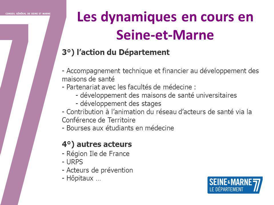 Les dynamiques en cours en Seine-et-Marne 3°) laction du Département - Accompagnement technique et financier au développement des maisons de santé - P