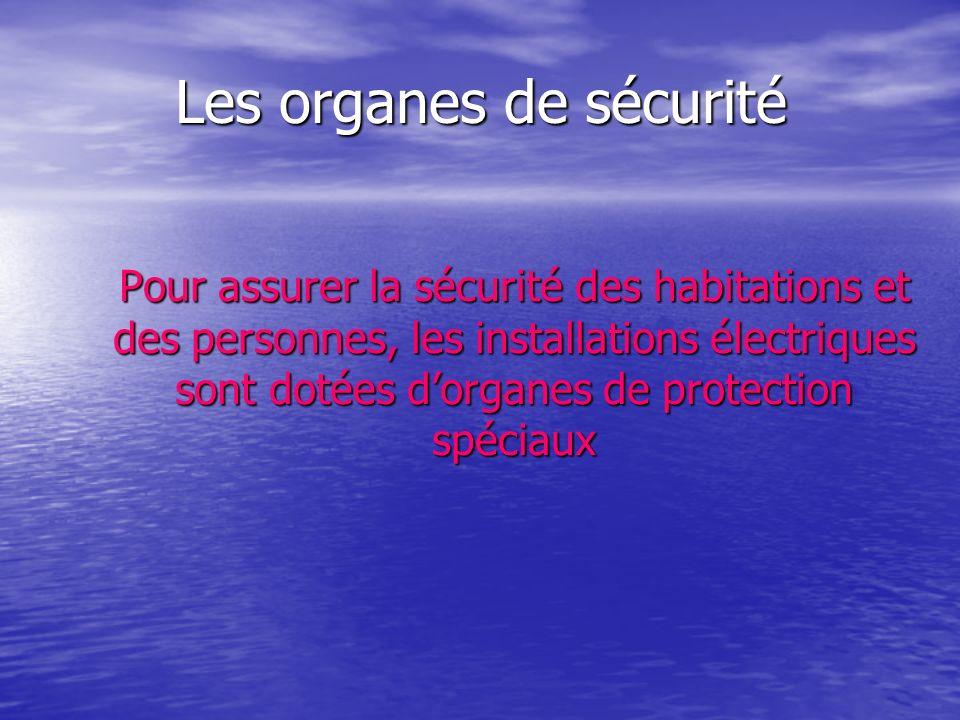 Les organes de sécurité Pour assurer la sécurité des habitations et des personnes, les installations électriques sont dotées dorganes de protection sp
