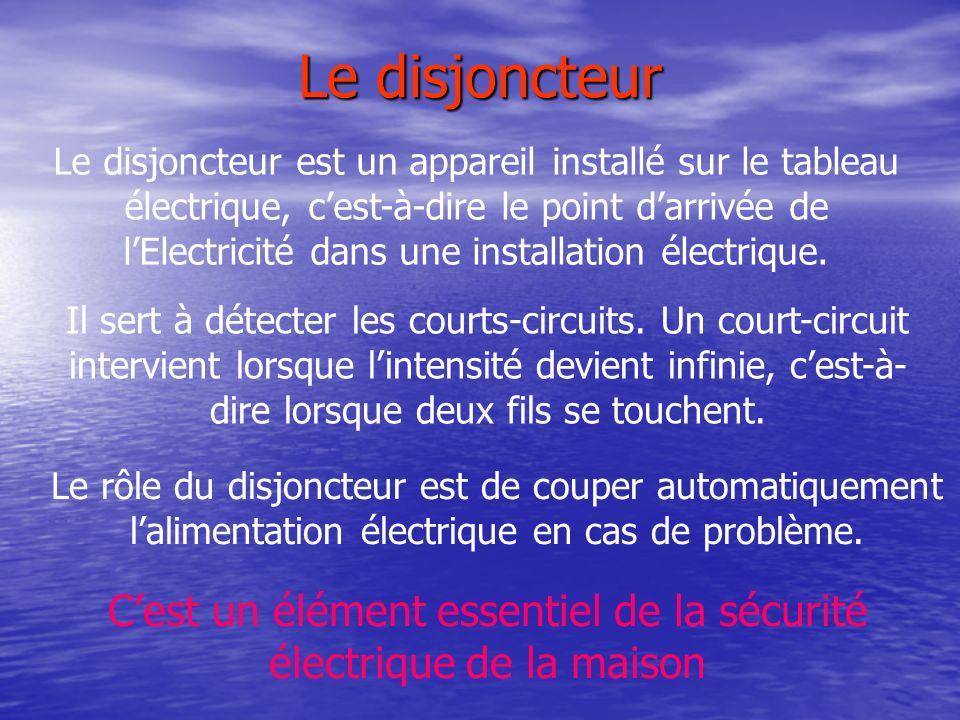 Le disjoncteur Le rôle du disjoncteur est de couper automatiquement lalimentation électrique en cas de problème. Le disjoncteur est un appareil instal