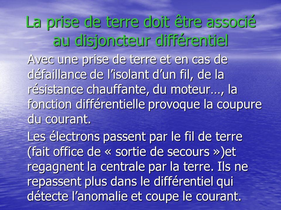 La prise de terre doit être associé au disjoncteur différentiel Avec une prise de terre et en cas de défaillance de lisolant dun fil, de la résistance