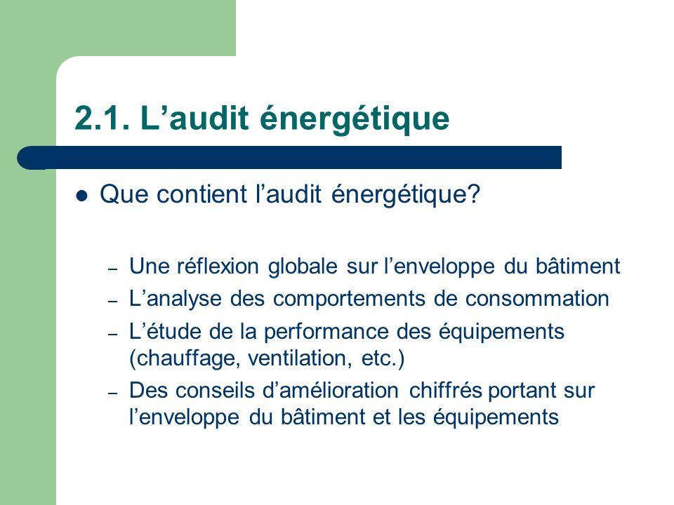 2.1. Laudit énergétique Que contient laudit énergétique? – Une réflexion globale sur lenveloppe du bâtiment – Lanalyse des comportements de consommati