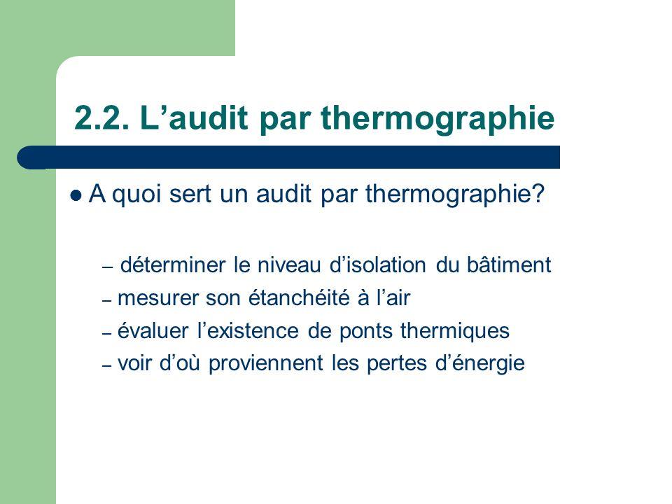 2.2. Laudit par thermographie A quoi sert un audit par thermographie? – déterminer le niveau disolation du bâtiment – mesurer son étanchéité à lair –