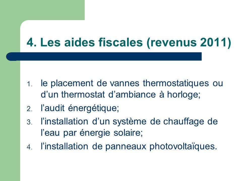 4. Les aides fiscales (revenus 2011) 1. le placement de vannes thermostatiques ou dun thermostat dambiance à horloge; 2. laudit énergétique; 3. linsta