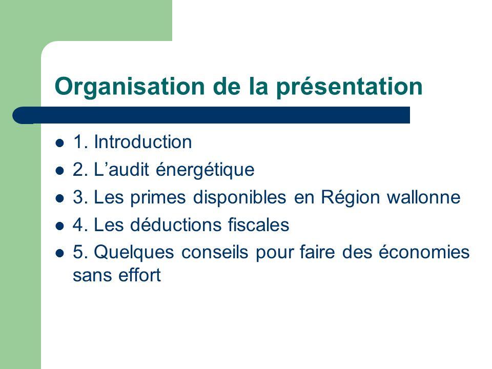 Organisation de la présentation 1. Introduction 2. Laudit énergétique 3. Les primes disponibles en Région wallonne 4. Les déductions fiscales 5. Quelq