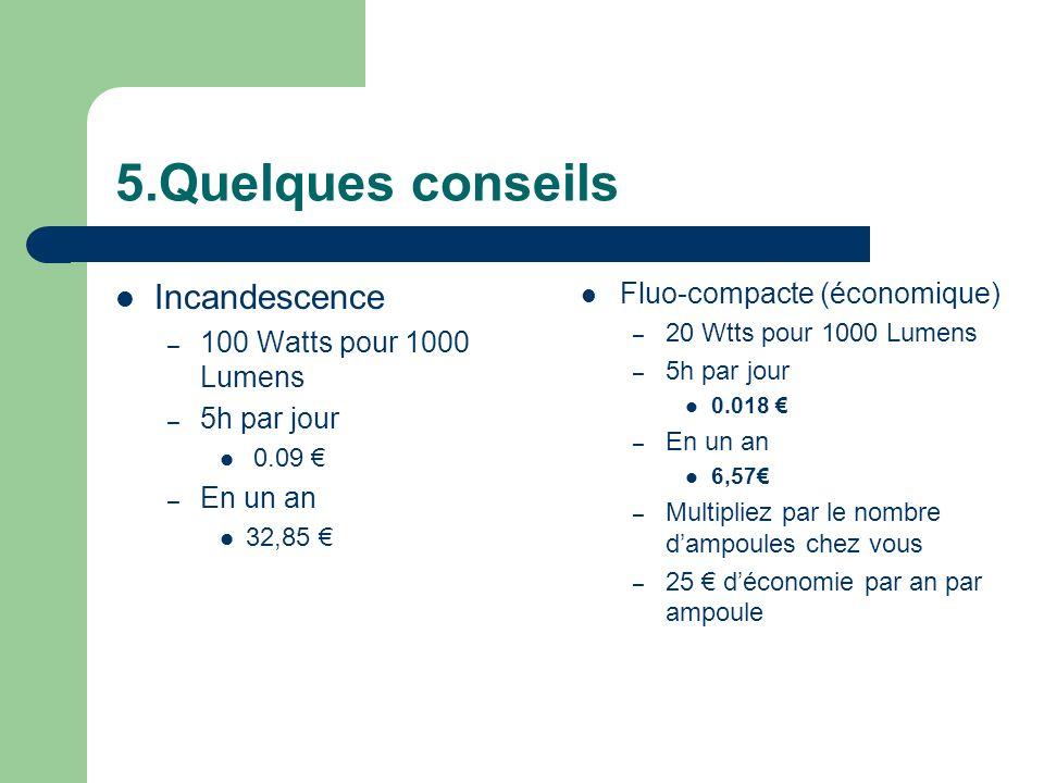 5.Quelques conseils Incandescence – 100 Watts pour 1000 Lumens – 5h par jour 0.09 – En un an 32,85 Fluo-compacte (économique) – 20 Wtts pour 1000 Lume