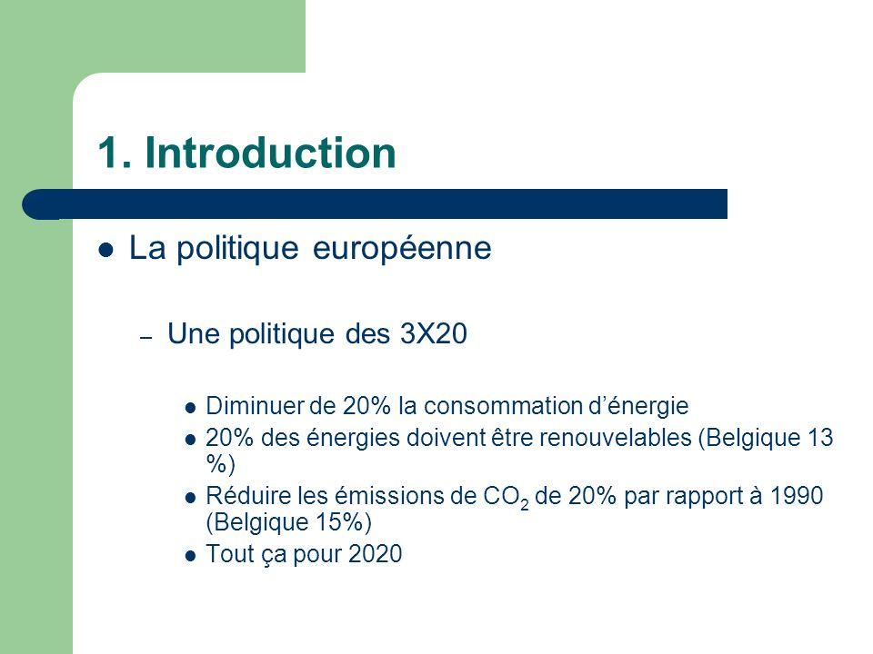 1. Introduction La politique européenne – Une politique des 3X20 Diminuer de 20% la consommation dénergie 20% des énergies doivent être renouvelables