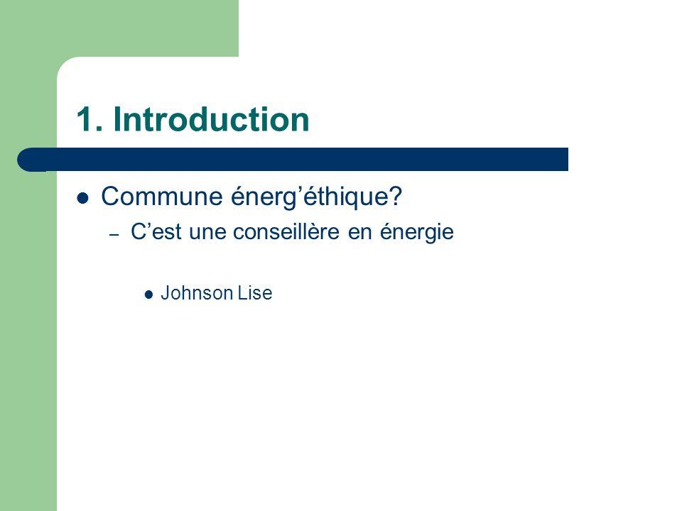 1. Introduction Commune énergéthique? – Cest une conseillère en énergie Johnson Lise