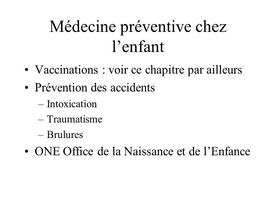 Vaccinations : voir ce chapitre par ailleurs Prévention des accidents –Intoxication –Traumatisme –Brulures ONE Office de la Naissance et de lEnfance