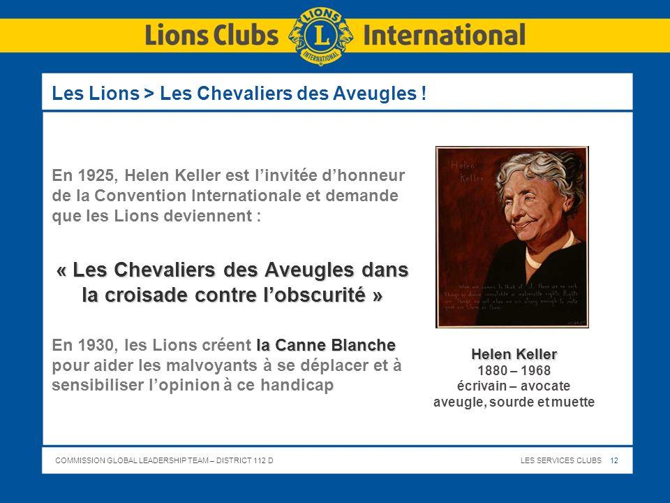 COMMISSION GLOBAL LEADERSHIP TEAM – DISTRICT 112 DLES SERVICES CLUBS 12 Les Lions > Les Chevaliers des Aveugles ! En 1925, Helen Keller est linvitée d