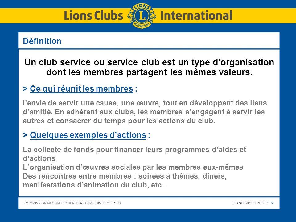 COMMISSION GLOBAL LEADERSHIP TEAM – DISTRICT 112 DLES SERVICES CLUBS 33 Le Lions Club ici, le nom de votre Club – Conclusion… > Service > Amitié > Epanouissement > Entraide > Disponibilité > Solidarité > Tolérance > Sont des qualités que vous trouverez auprès de chacun des membres du Lions Club …………..…….