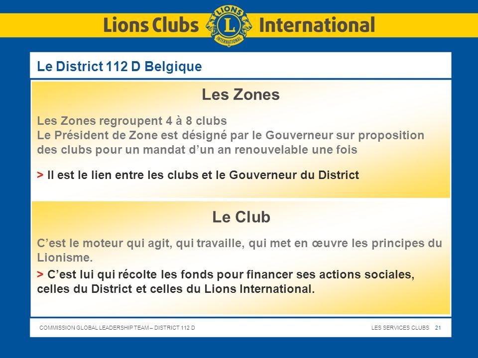 COMMISSION GLOBAL LEADERSHIP TEAM – DISTRICT 112 DLES SERVICES CLUBS 21 Le District 112 D Belgique Les Zones Les Zones regroupent 4 à 8 clubs Le Prési