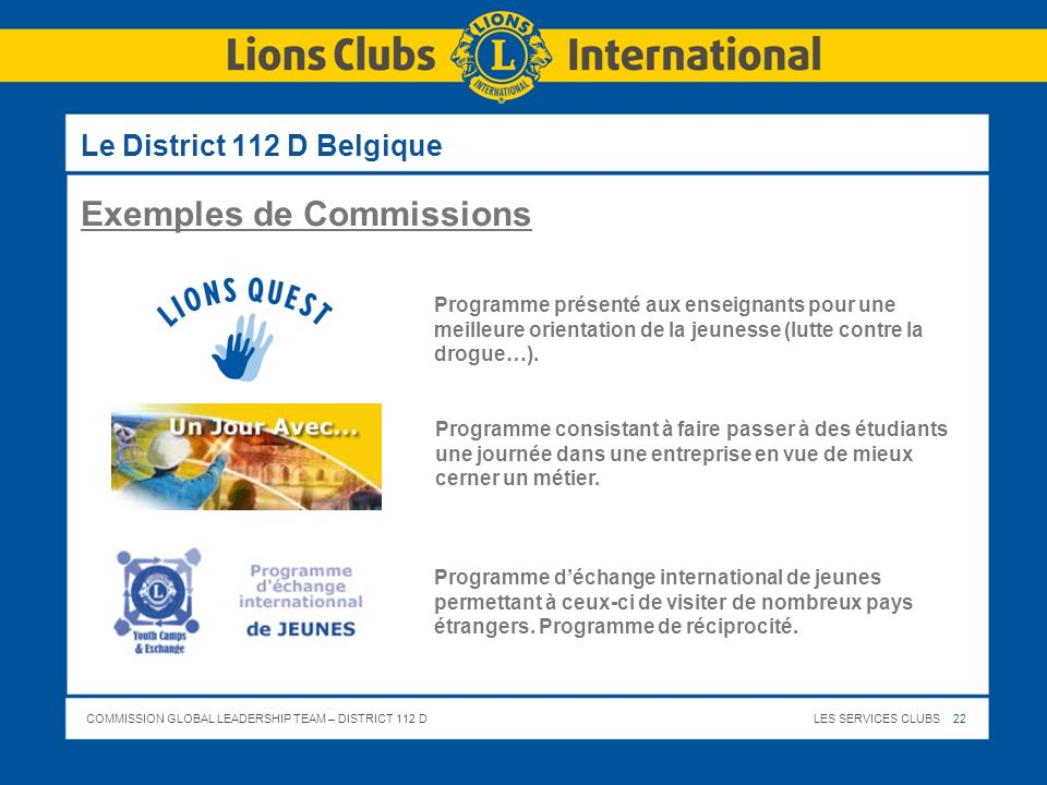 COMMISSION GLOBAL LEADERSHIP TEAM – DISTRICT 112 DLES SERVICES CLUBS 22 Le District 112 D Belgique Programme déchange international de jeunes permetta