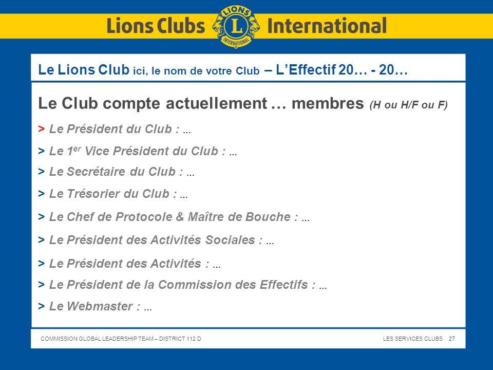 COMMISSION GLOBAL LEADERSHIP TEAM – DISTRICT 112 DLES SERVICES CLUBS 27 Le Lions Club ici, le nom de votre Club – LEffectif 20… - 20… Le Club compte a