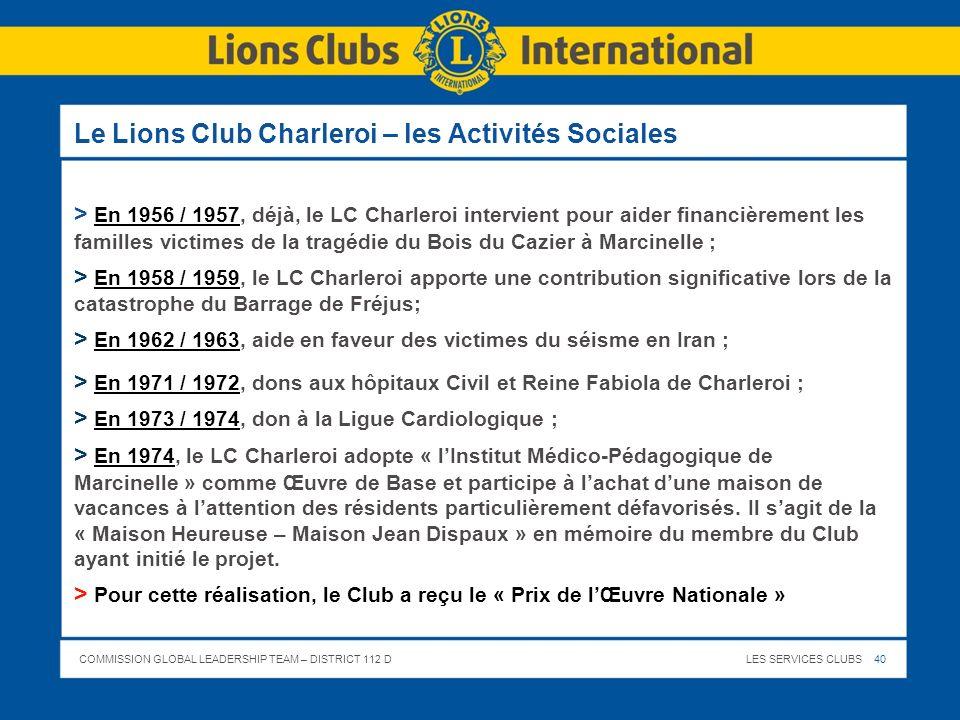 COMMISSION GLOBAL LEADERSHIP TEAM – DISTRICT 112 DLES SERVICES CLUBS 40 Le Lions Club Charleroi – les Activités Sociales > En 1956 / 1957, déjà, le LC