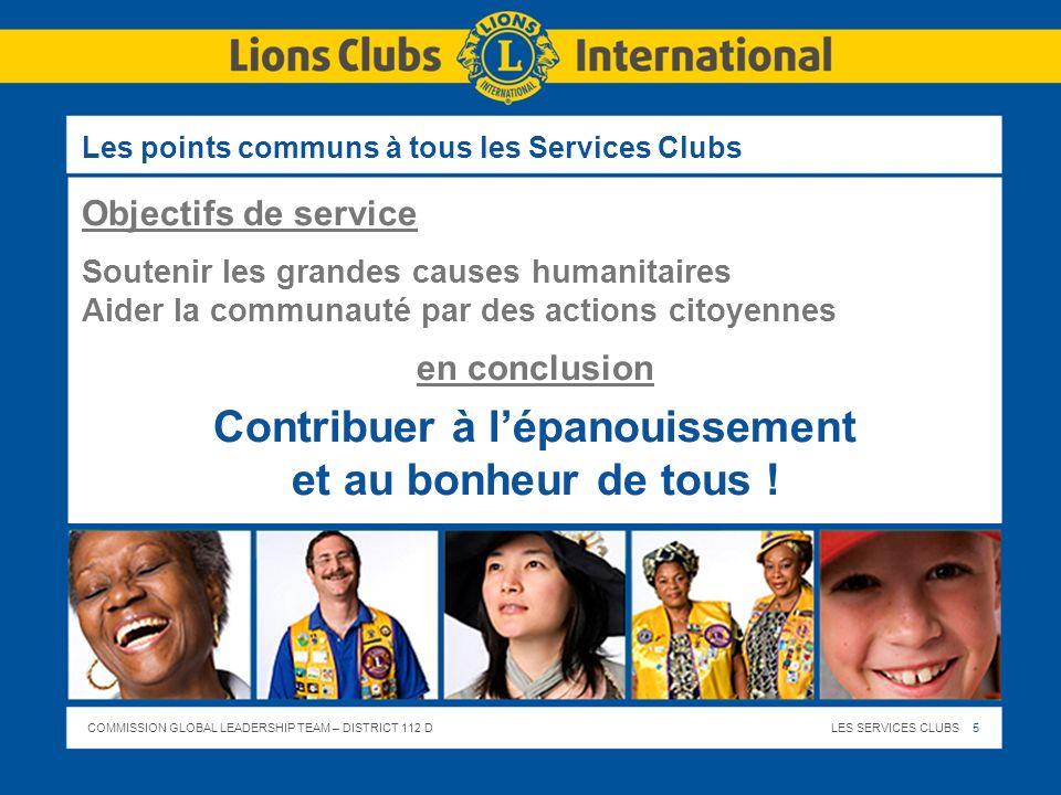 COMMISSION GLOBAL LEADERSHIP TEAM – DISTRICT 112 DLES SERVICES CLUBS 5 Les points communs à tous les Services Clubs Objectifs de service Soutenir les