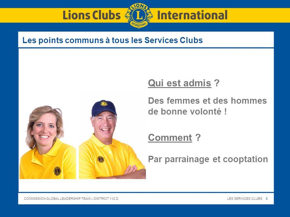 COMMISSION GLOBAL LEADERSHIP TEAM – DISTRICT 112 DLES SERVICES CLUBS 27 Le Lions Club ici, le nom de votre Club – LEffectif 20… - 20… Le Club compte actuellement … membres (H ou H/F ou F) > Le Président du Club : … > Le 1 er Vice Président du Club : … > Le Secrétaire du Club : … > Le Trésorier du Club : … > Le Chef de Protocole & Maître de Bouche : … > Le Président des Activités Sociales : … > Le Président des Activités : … > Le Président de la Commission des Effectifs : … > Le Webmaster : …