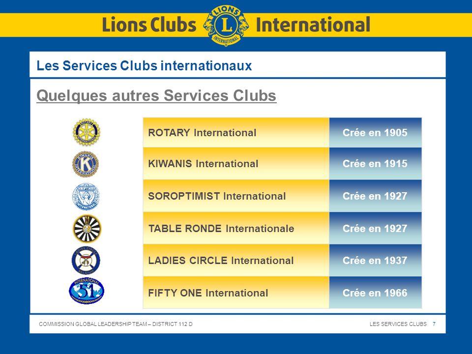 COMMISSION GLOBAL LEADERSHIP TEAM – DISTRICT 112 DLES SERVICES CLUBS 8 Le Lions Clubs International - Fondé en 1917 à Chicago - par Melvin Jones (courtier en assurances) - 1.340.000 membres - 45.950 clubs - établi dans 206 pays