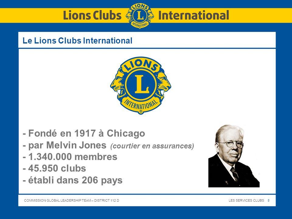 COMMISSION GLOBAL LEADERSHIP TEAM – DISTRICT 112 DLES SERVICES CLUBS 8 Le Lions Clubs International - Fondé en 1917 à Chicago - par Melvin Jones (cour