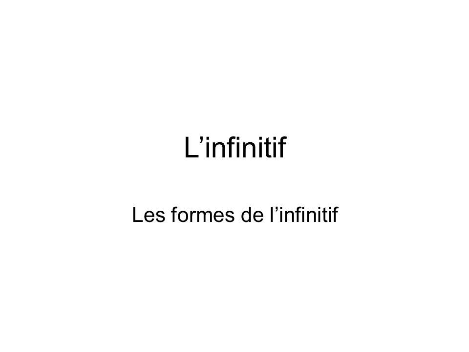 Linfinitif Les formes de linfinitif