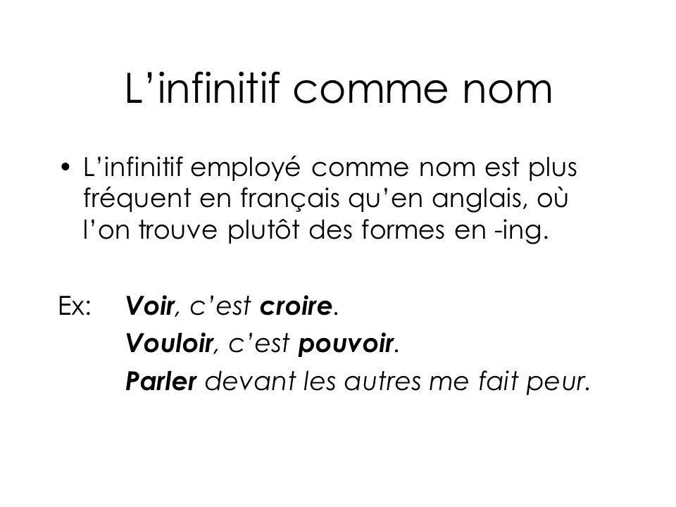 Linfinitif comme nom Linfinitif employé comme nom est plus fréquent en français quen anglais, où lon trouve plutôt des formes en -ing.