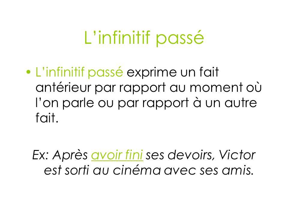 Linfinitif passé Linfinitif passé exprime un fait antérieur par rapport au moment où lon parle ou par rapport à un autre fait.