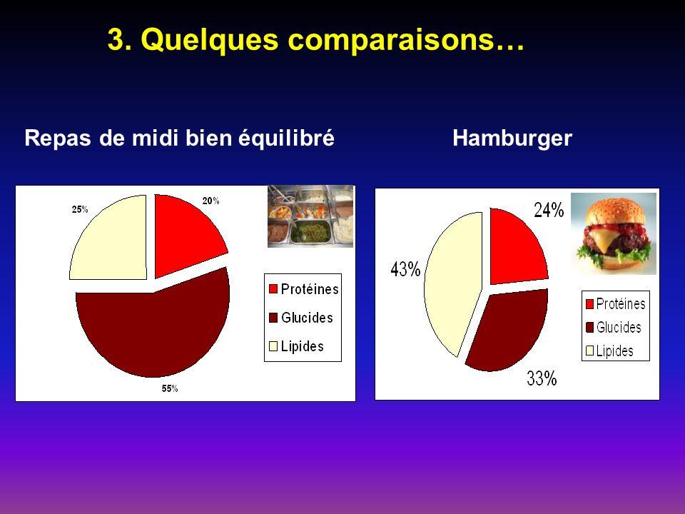 Repas de midi bien équilibré 3. Quelques comparaisons… Hamburger