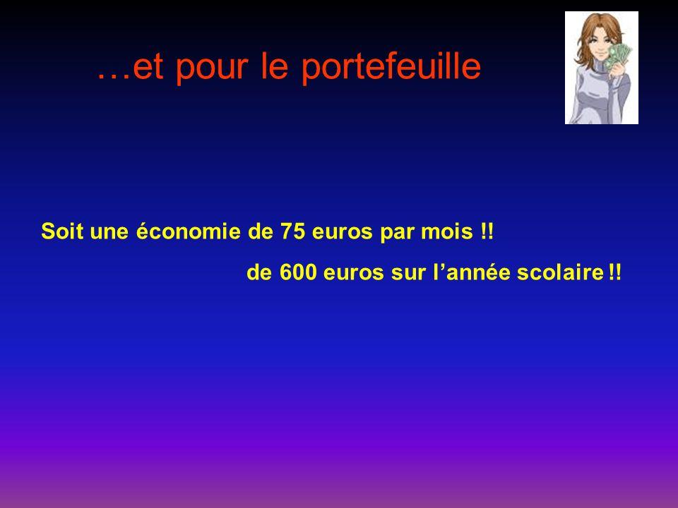…et pour le portefeuille Soit une économie de 75 euros par mois !! de 600 euros sur lannée scolaire !!