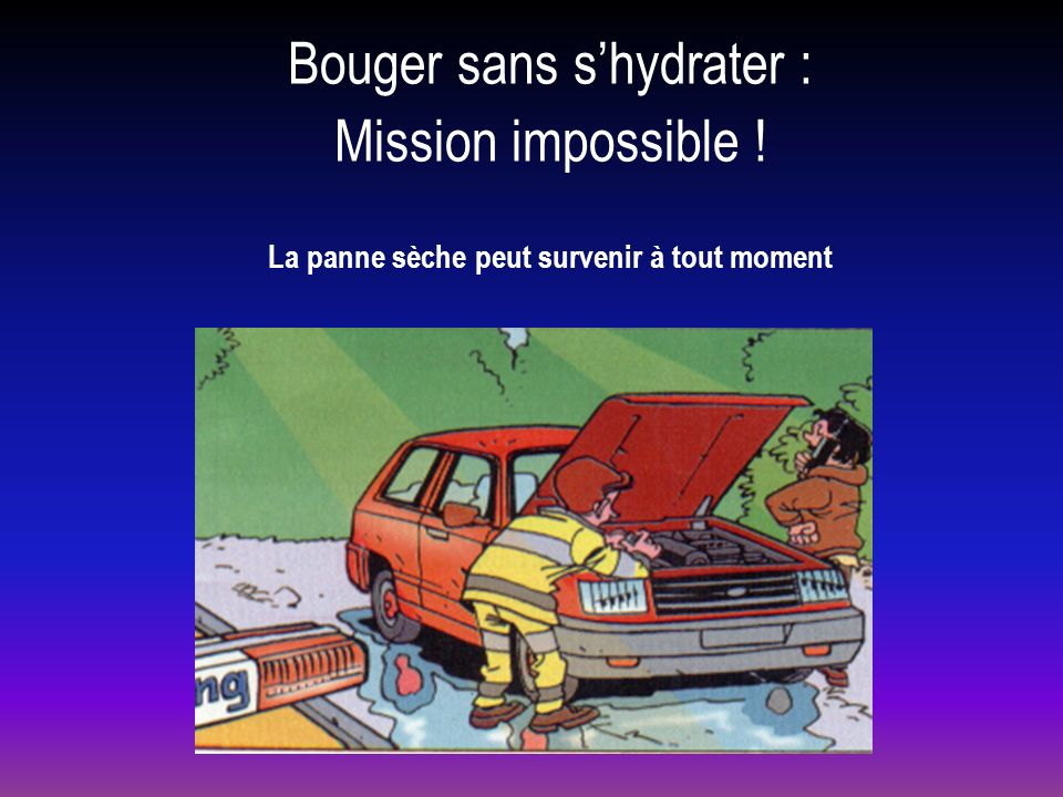 La panne sèche peut survenir à tout moment Bouger sans shydrater : Mission impossible !