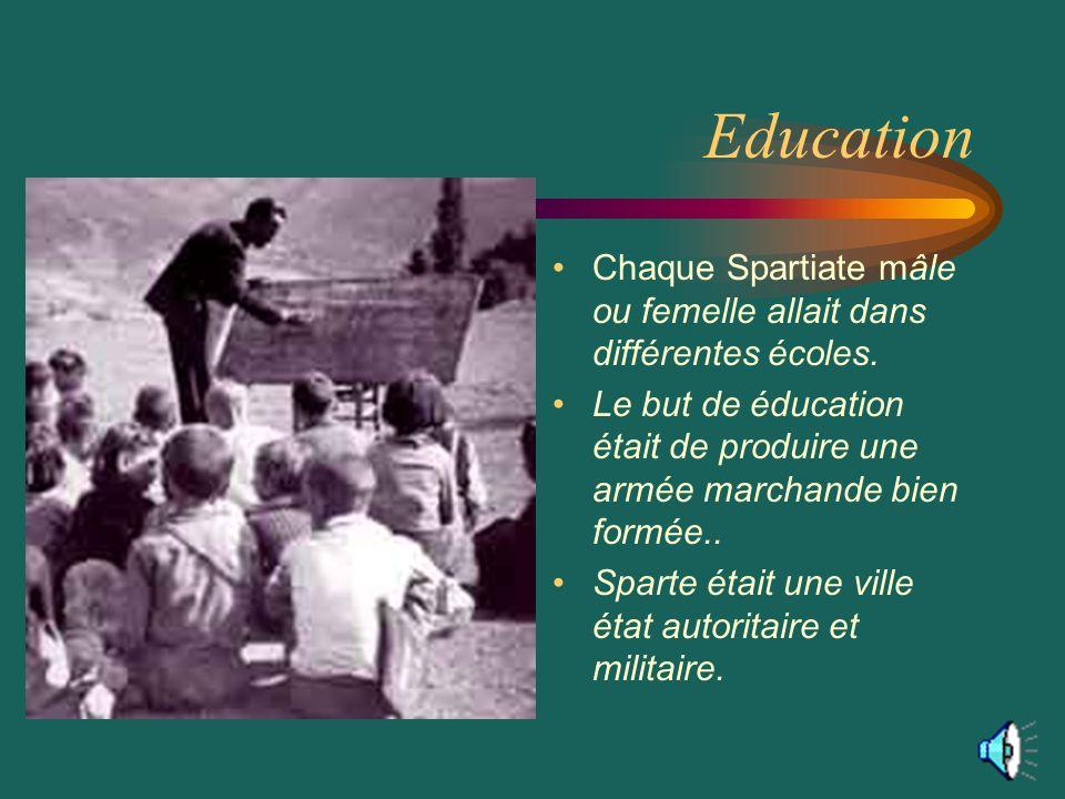 Education Chaque Spartiate mâle ou femelle allait dans différentes écoles.