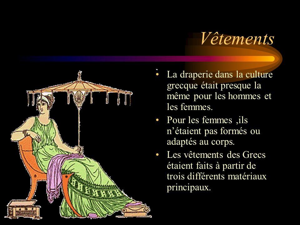 Vêtements La draperie dans la culture grecque était presque la même pour les hommes et les femmes.