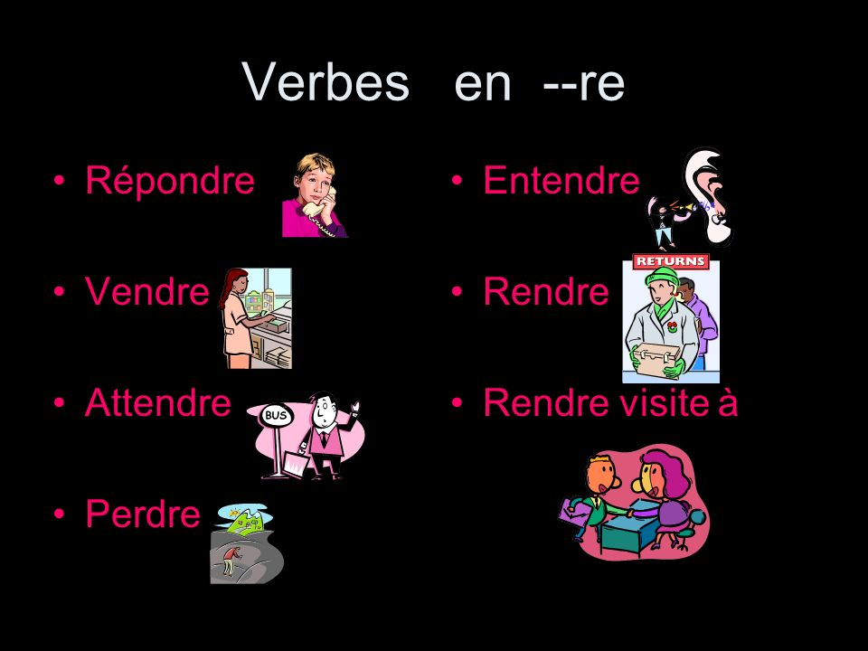 --re verbs present tense Take off the –re and add the correct ending.