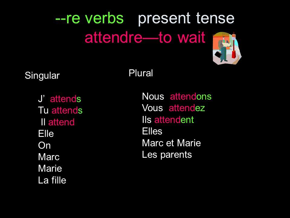 --re verbs present tense Complétez avec la forme convenable des verbes en --re : 1.Vous _________ (répondre) à la lettre.