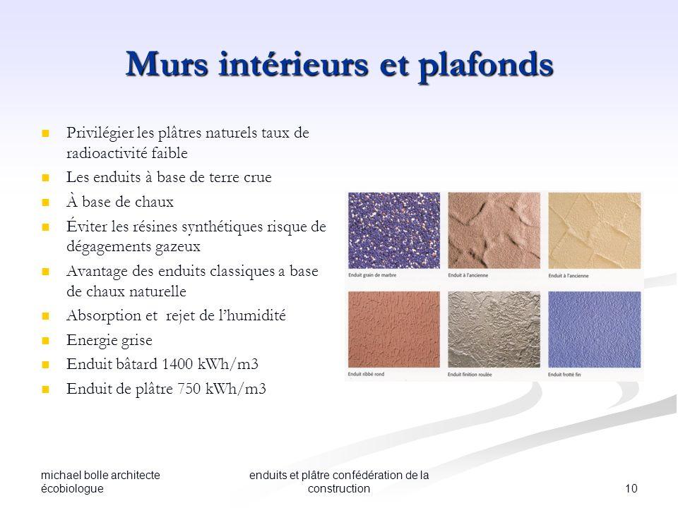 michael bolle architecte écobiologue 10 enduits et plâtre confédération de la construction Murs intérieurs et plafonds Privilégier les plâtres naturel