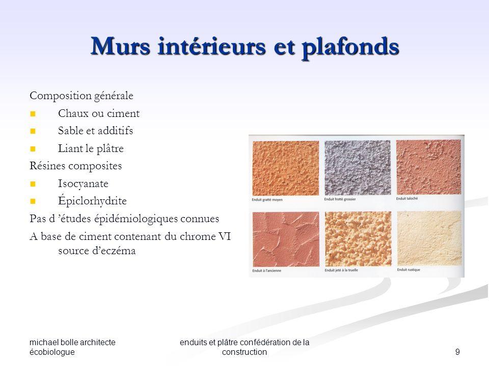 michael bolle architecte écobiologue 9 enduits et plâtre confédération de la construction Murs intérieurs et plafonds Composition générale Chaux ou ci