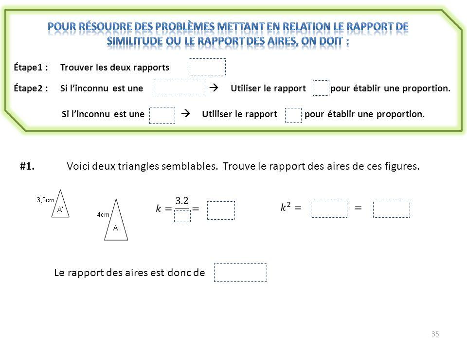 35 Étape1 : Trouver les deux rapports k et k 2 Étape2 :Si linconnu est une longueur Utiliser le rapport k pour établir une proportion. Si linconnu est